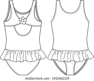 Young Girls One piece Swimsuit fashion flat sketch template. Flower detail at back. Swimwear Technical Fashion Illustration. Small Frill Skirt