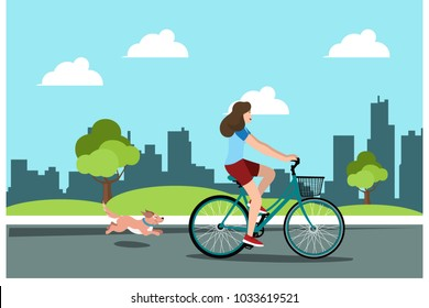 Young girls riding bikes with dogs in the park, vector illustrations