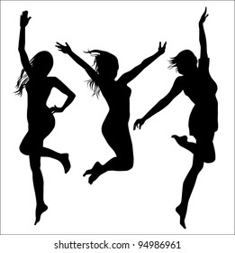young girls (vector drawing silhouette)