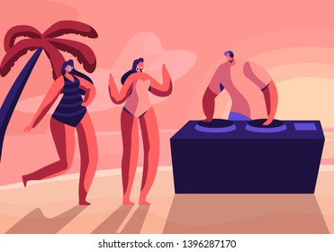 Young Girls Wearing Swim Suits and Sun Glasses Dancing on Seaside at Summer Time Beach Party with DJ Playing Modern Music at Sunset Tropical Landscape with Palm Trees. Cartoon Flat Vector Illustration
