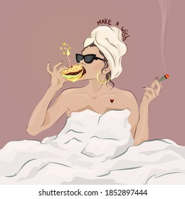 Young glamorous woman celebrating Birthday eating a burger with a candle in it and smoking weed. Birthday greeting card concept. Hedonystic lifestyle. Fashion illustration vector.