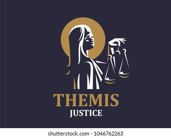 Young goddess of justice of the femida. Vector emblem.