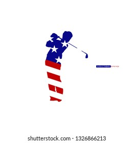 Young golfer in American flag, Star and stripes, Red white and blue color.
