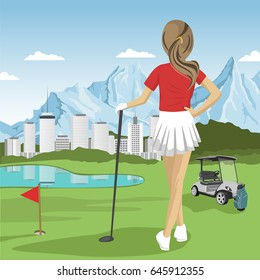 Young golfer girl standing with a golf club looking at lake, city and mountains