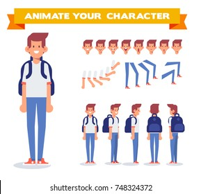 Young guy with backpack. Front, side, back, 3/4 view character for animation. Separate parts of body. Cartoon style, flat vector illustration.