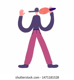 young guy with a baseball cap on his head sings into a microphone, a smile on his face, a purple T-shirt, pink pants, vocals, music, surrealism, a small head, big disproportionate hands
