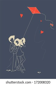 Young guy and beautiful girl in love fly a kite. Illustration, vector
