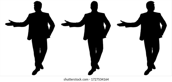 Young guy in a business suit is presenting, is presenting something. Front view, full face. Teacher is in motion, goes and gestures. Man at the presentation, confident walk. Successful businessman.