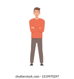 Young guy crossed his arms over his chest. Vector illustration in cartoon style.