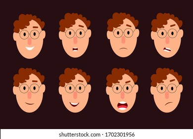 Young guy with different emotions. A character for your scenes. Vector illustration in flat design style.