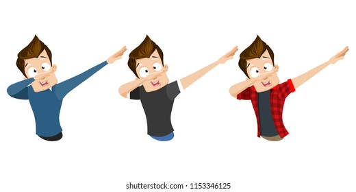 Young guy doing dab dance element. Cute character in trendy pose of hip hop dance. Dabbing teenager isolated cartoon personage. Modern pop culture gesture, youth lifestyle vector illustration.