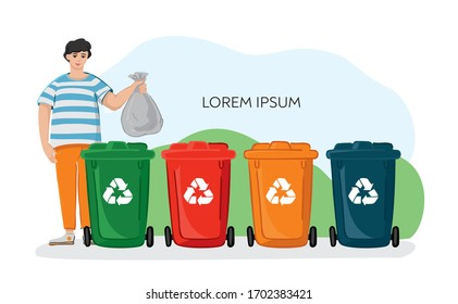 A young guy with a garbage bag near colored plastic bins for separate garbage. Color containers for sorting waste.  Concept of eco living, green thinking, conscious consumption. Vector illustration.