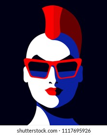 Young guy or girl with punk hair, wearing sunglasses. Vector illustration
