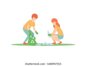 Young guy and girl sort plastic and throws it in a garbage bag, throw out trash, rubbish, volunteers. Flat vector illustration.
