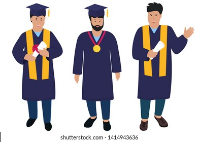 Young guy graduate in graduation gown and hats with tassels. Trendy Flat men