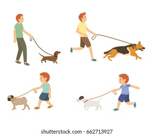 Young guy and kids walking with dogs vector set