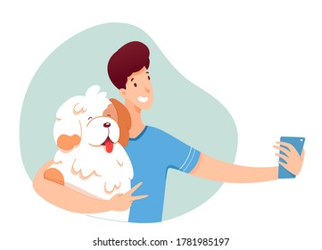 Young guy making selfie with his dog. Smiling man is photographed with pet, make photo on smartphone camera. Vector character illustration of hobby photography, memory, social network, lifestyle