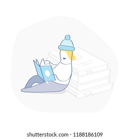 Young guy reads book leaning on books, study and knowledge, education and research, literature fans or lover concept. Cute cartoon vector illustration doodle on white.
