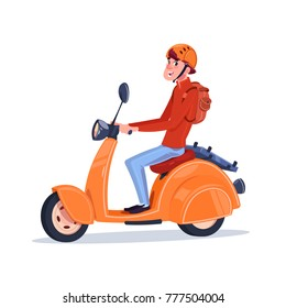 Young Guy Riding Electric Scooter Vintage Motorcycle Isolated On White Background Flat Vector Illustration