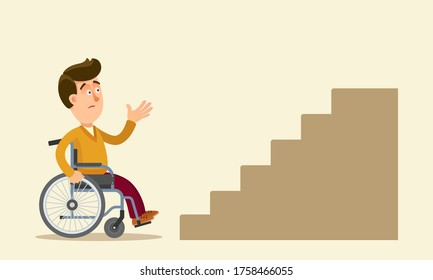 A young guy is sitting in a wheelchair and looking sadly at the stairs going up. Uncomfortable city for the disabled. Stress for handicapped. Vector illustration, flat design, cartoon style, isolated.