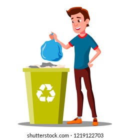 Young Guy Throwing Trash Bags Into Container Vector. Isolated Illustration