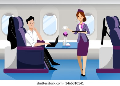 Young guy travel by airplane in business class. Vector flat cartoon illustration. First-class plane interior with comfortable seat. Stewardess serving drinks for man working on laptop.