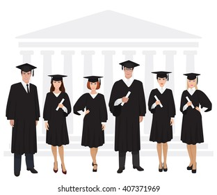 Young guys and girls graduates standing in front of university building holding diploma. Vector illustration.