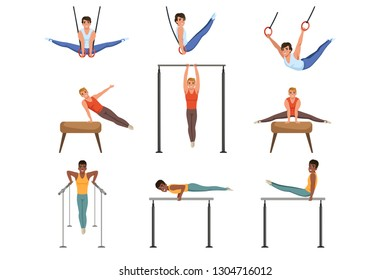 Young guys training on various gymnastics apparatus. Rings, pommel horse, horizontal and parallel bars sport. Professional athletes. Flat vector set