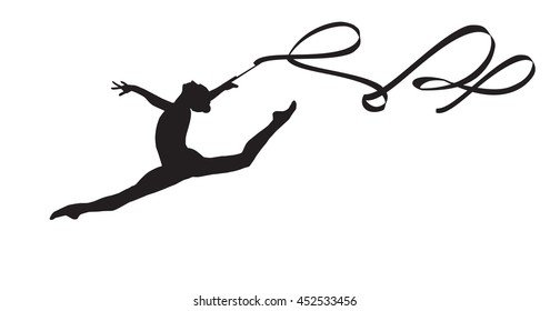 Young gymnast woman dance ribbon silhouette performing rhythmic gymnastics element, jumping doing split leap in the air, Girl dancer solated on white background. Junior national group Gymnastic 2019