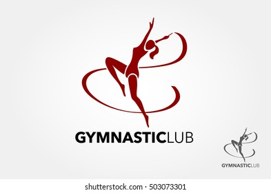 Young gymnast woman with ribbon silhouette, performing rhythmic gymnastics element, jumping doing split leap in the air, isolated on white background Illustration. Logo vector illustration.