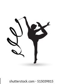 Young gymnast woman with ribbon silhouette Rhythmic Gymnastic young girl Isolated Gym kids. Olympic athlete gymnastic. Gymnastic Ribbon Vector Artistic gymnastics dance ballet yoga gym, fitness sports