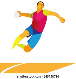 Young handball player in attack throws the ball in jump