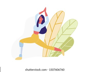 Young Handicapped Woman with Prosthesis instead of Amputated Leg Doing Yoga Asana, Disabled Girl Living Full Life, Sportswoman Training, Sportslife, Rehabilitation. Cartoon Flat Vector Illustration