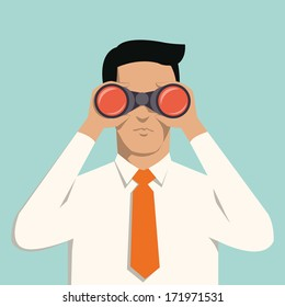 Young handsome businessman with binoculars. Business concept in vision and leadership.