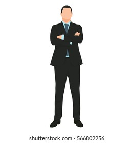 Young handsome businessman standing with folded arms. Dark suit, blue tie and shirt. Front view. Flat vector illustration