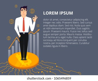 Young and handsome businessman is standing on a big bitcoin. Bitcoins and diagram. Vector illustration in modern flat design.