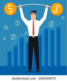 Young and handsome businessman whith big barbell. Trading market and  diagram, money. Vector illustration in modern flat design.