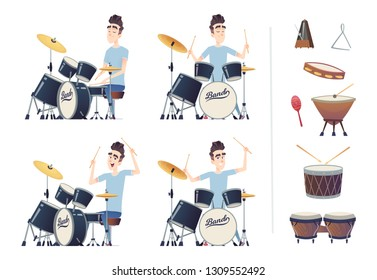 Young handsome guy playing the drums. A set of percussion instruments. Drummer practiced and trained.