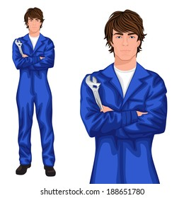 Young handsome male auto mechanic worker standing in blue overall with spanner, arms crossed vector illustration