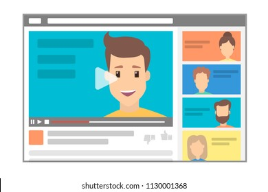Young handsome male blogger making a review. Advertising online using the website. Popular videoblogger with an influence on the audience. Flat vector illustration