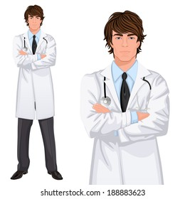 Young handsome male medicine doctor assistant standing in white lab coat with stethoscope, arms crossed vector illustration