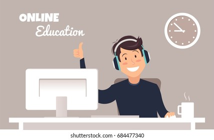 Young handsome man in headphones sitting at a table and working with computer in a home office. Online education concept. Vector illustration