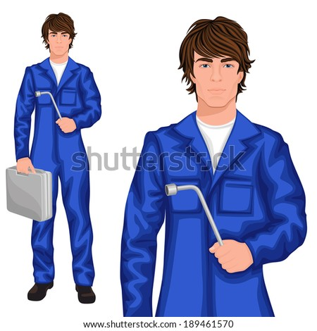 Young handsome man mechanic worker standing in blue overall with spanner and tool kit case vector illustration
