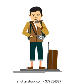 Young handsome man traveler or tourist with travel trolley and camera holding mobile phone as he starts his vacation full length illustration
