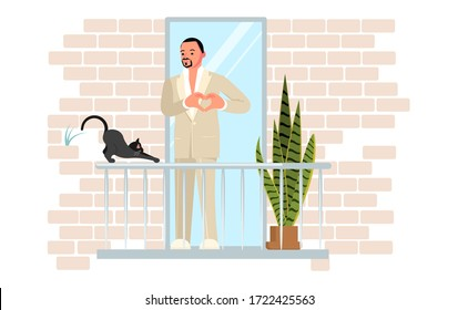 Young handsome man wearing a white suit sings on the balcony. Black cat stretches. Activity and hobbies during the coronavirus pandemic. Flat Art Vector Illustration