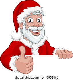 Young handsome Santa Claus Christmas cartoon character peeking over a sign and giving a thumbs up