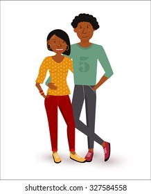 Young happy african american couple smiling in flat style illustration. EPS10 vector.