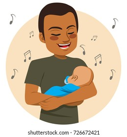 Young happy African American father rocking and singing sleeping baby lullaby