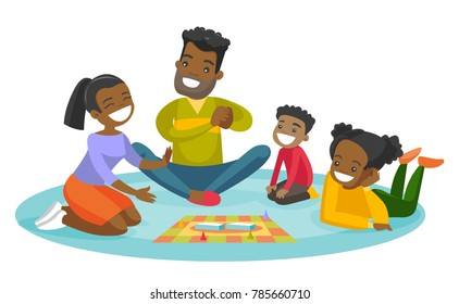Young happy african parents with their little children sitting on the floor and playing together board game at home. Family vacation concept. Vector cartoon illustration isolated on white background.