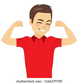 Young happy attractive strong man showing muscle strength concept